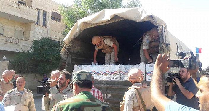 La entrega de la ayuda humanitaria rusa a los sirios