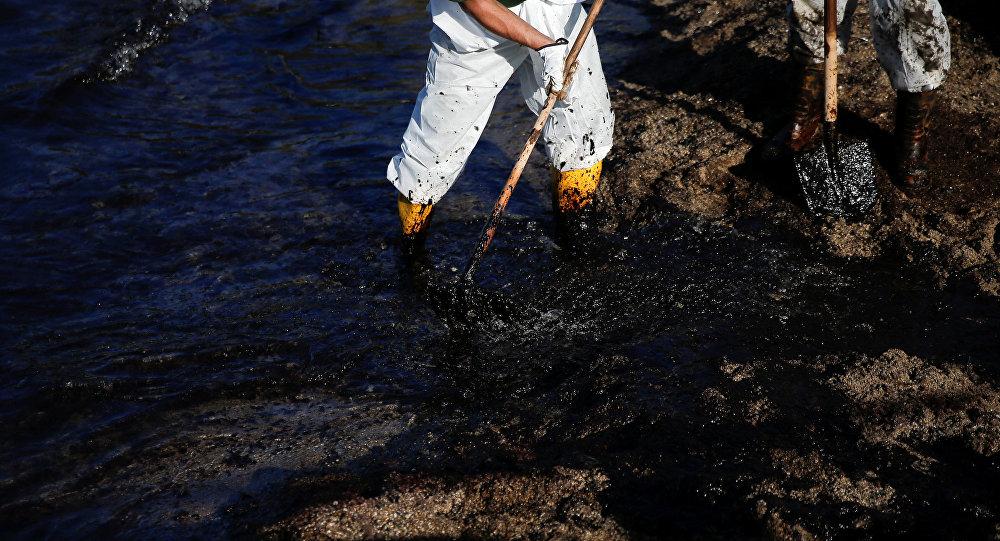 Los obreros limpien la costa de la marea megra