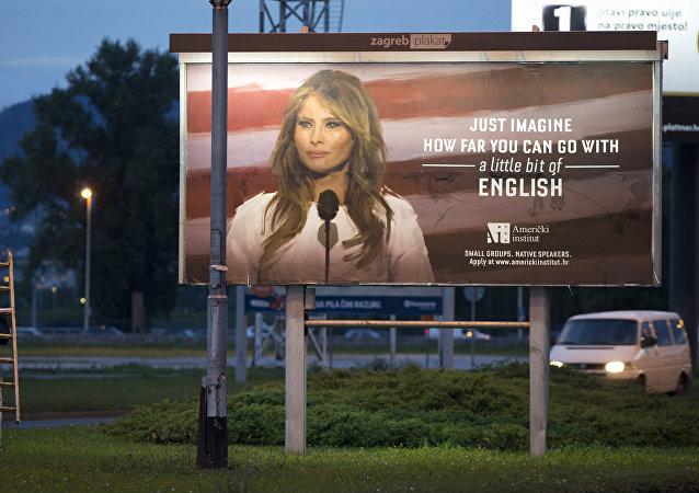 La primera dama Melania Trump en la publicidad de una escuela de idiomas en Zagreb, Croacia