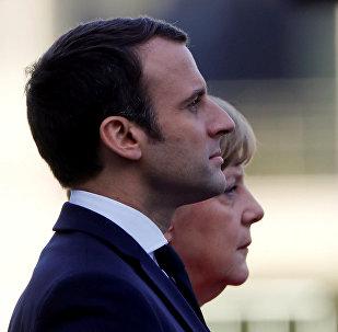 El presidente de Francia, Emmanuel Macron, y la canciller alemana, Angela Merkel