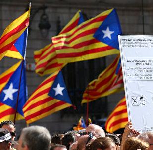 Manifestación a favor del referéndum en Cataluña