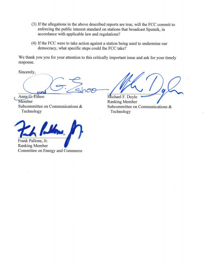 Carta de la Cámara de Representantes de EEUU al presidente de la Comisión Federal de Comunicaciones