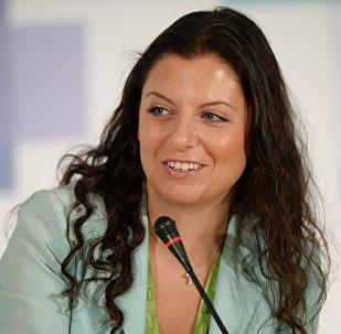 Margarita Simonián, directora jefa del grupo mediático Rossiya Segodnya, la agencia de noticias Sputnik y la cadena RT (archivo)