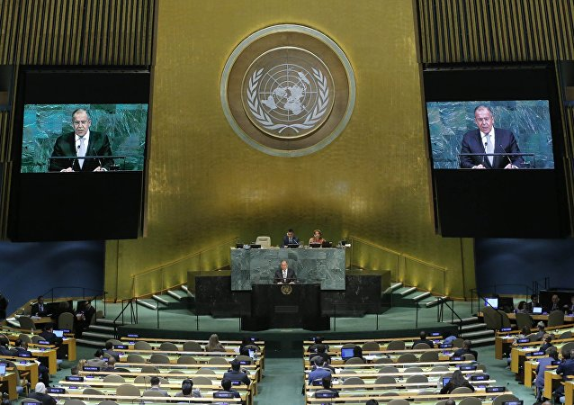 Russian Foreign Minister Sergey Lavrov addresses the 72nd United Nations General Assembly