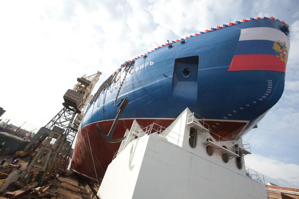 La botadura del rompehielos nuclear Sibir en San Petersburgo