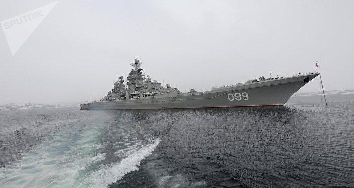 El buque insignia de la Flota del Norte, el crucero portamisiles nuclear Piotr Veliki