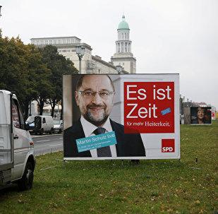 El cartel del Partido Socialdemócrata de Alemania (SPD) con el retrato de su líder, Martin Schulz