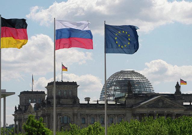 Banderas de Alemania, Rusia y UE