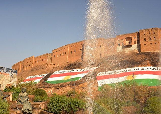 Banderas de Kurdistán en la ciudad de Erbil