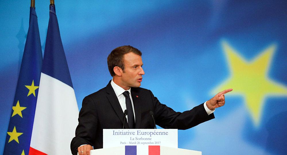 El presidente de Francia, Emmanuel Macron, durante su discurso ante los estudiantes de la Universidad de La Sorbona