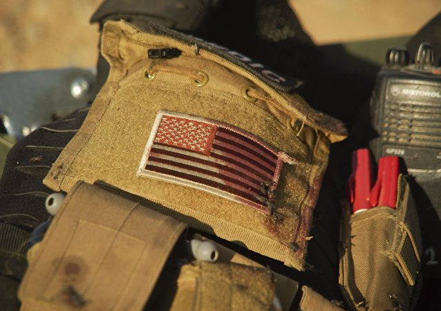 La bandera de EEUU en el uniforme de un voluntario en Irak (archivo)