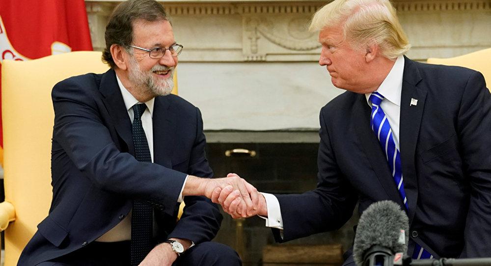 El presidente de España, Mariano Rajoy junto al presidente de EEUU, Donald Trump