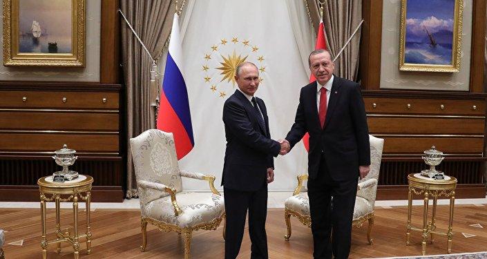 El presidente de Rusia, Vladímir Putin, con su par turco, Recep Tayyip Erdogan