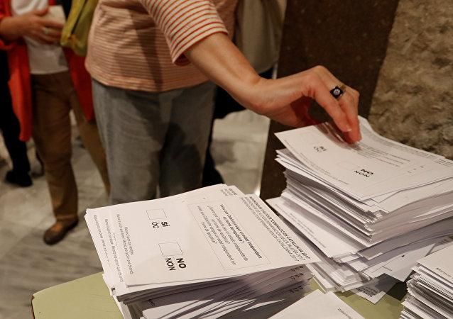 Votación en el referéndum catalán