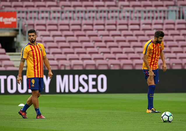 Entrenamiento de FC Barcelona en el estadio Camp Nou