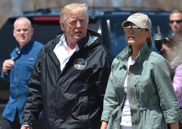 El presidente de EEUU, Donald Trump y la primera dama Melania Trump en Puerto Rico