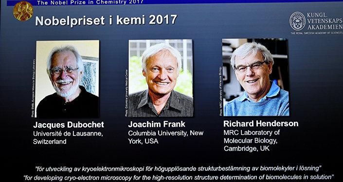 Tres investigadores, ganadores del Premio Nobel de Química 2017