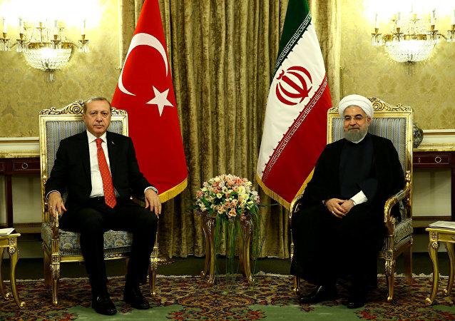 Presidente de Turquía Recep Tayyip Erdogan y presidente de Irán, Hasán Rohani