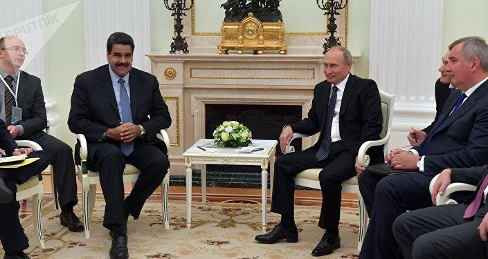 Nicolás Maduro, presidente de Venezuela y Vladímir Putin, presidente de Rusia, durante su reunión en Moscú