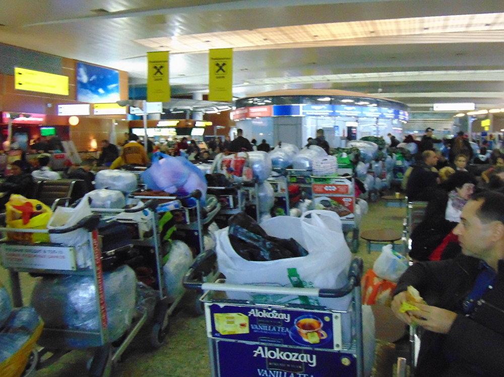 Fila de equipaje del vuelo Moscú-Habana