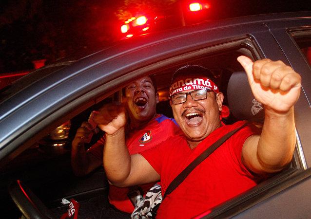 Panameños festejando su ingreso al mundial de fútbol Rusia 2018