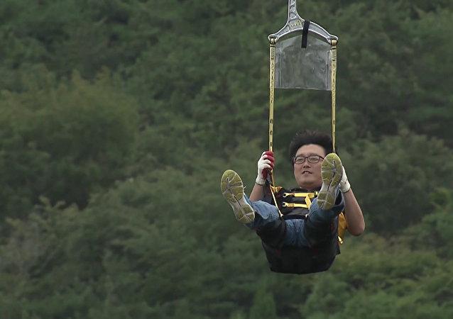 Inauguran en Corea del Sur la tirolina más larga de Asia