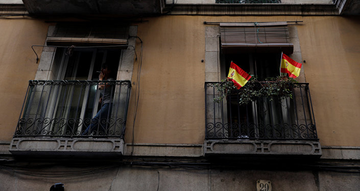 Banderas de España en Barcelona, Cataluña