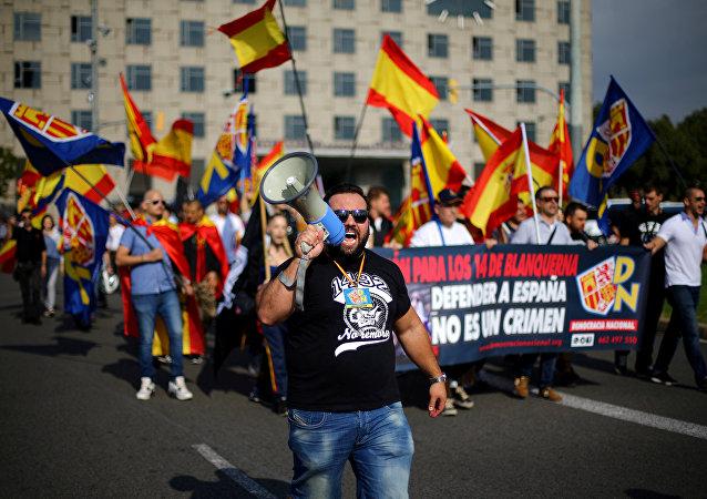 Manifestación de ultraderechistas en Barcelona, Cataluña