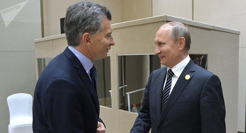 Presidente argentino, Mauricio Macri, y presidente ruso, Vladímir Putin
