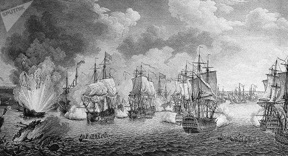 La batalla de Tchesme de 1770, durante la Guerra ruso-turca de 1768-1774