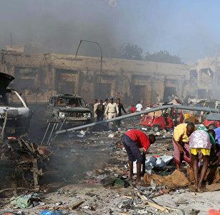 Lugar del atentado en la capital de Somalia, Mogadiscio