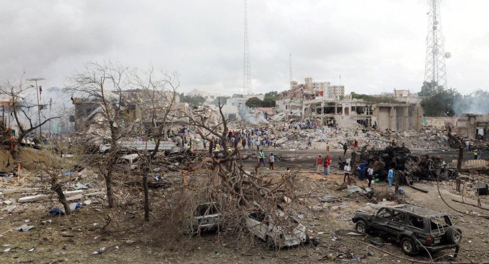 Lugar del atentado en Mogadiscio, Somalia