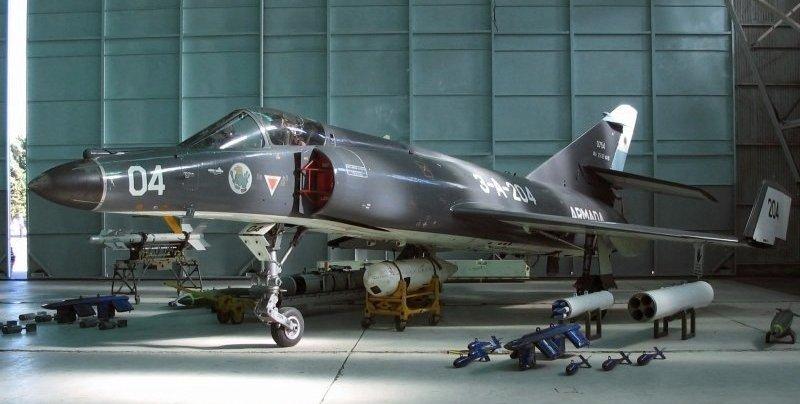 Un Super Étendard argentino igual que el que lanzó el misil Exocet contra el HMS Sheffield en 1982