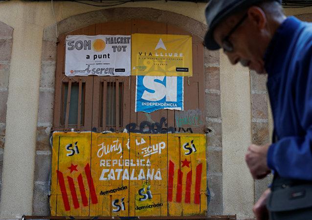 Los graffiti pro-independistas en Barcelona