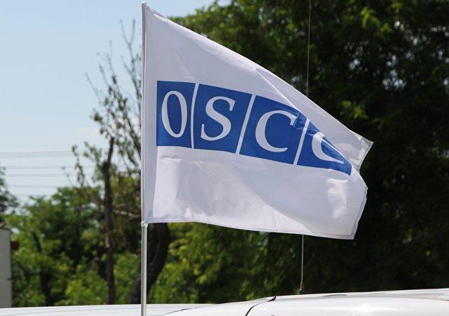 La bandera de la OSCE en Donbás