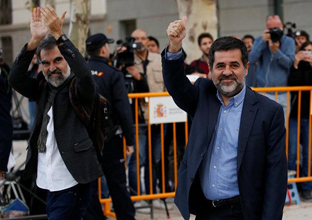 Los presidentes de la Asamblea Nacional Catalana, Jordi Sánchez, y Omnium Cultural, Jordi Cuixart (archivo)
