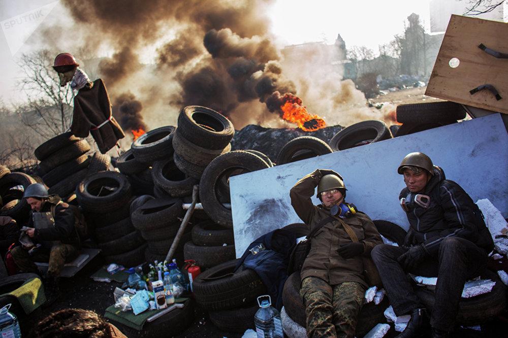 Manifestaciones de protesta en la Plaza de la Independencia (Maidán) de Kiev