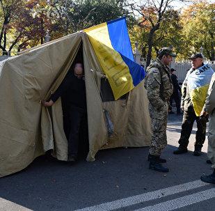 Las acampadas en el centro de Kiev