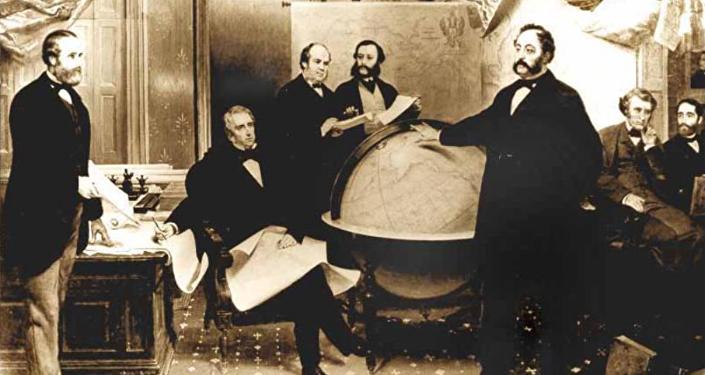 La firma del tratado de cesión de Alaska