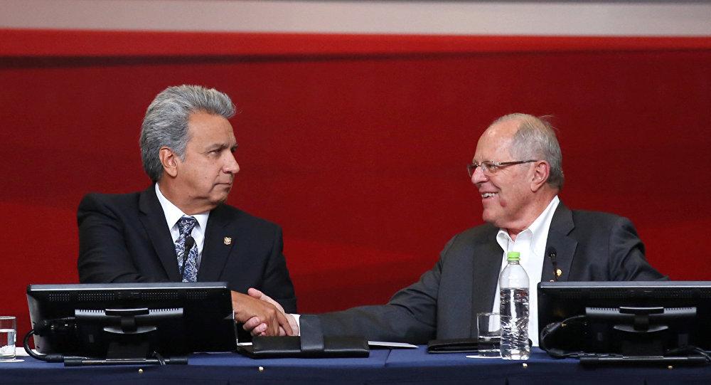 El presidente de Ecuador, Lenín Moreno y el presidente de Perú, Pedro Pablo Kuczynski