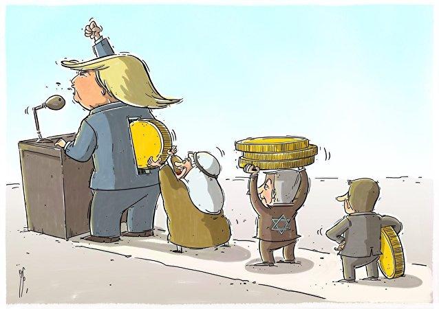 Una de las caricaturas de Donald Trump con el Golfo como telón de fondo publicadas en Irán