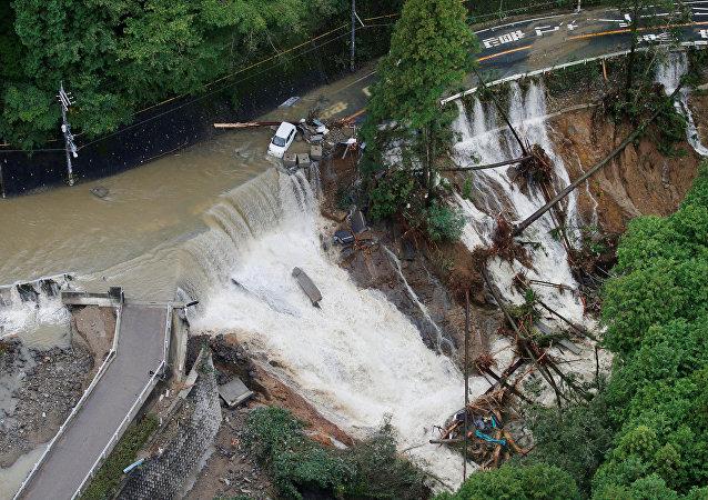 Daños causados por el tifón Lan en Japón