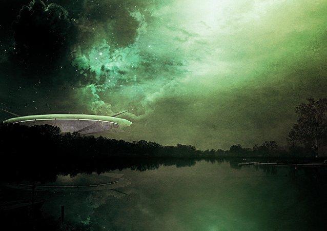 Una nave alienígena (ilustración)