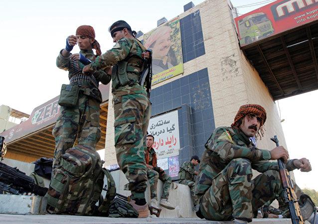 Los kurdos peshmerga en Kirkuk