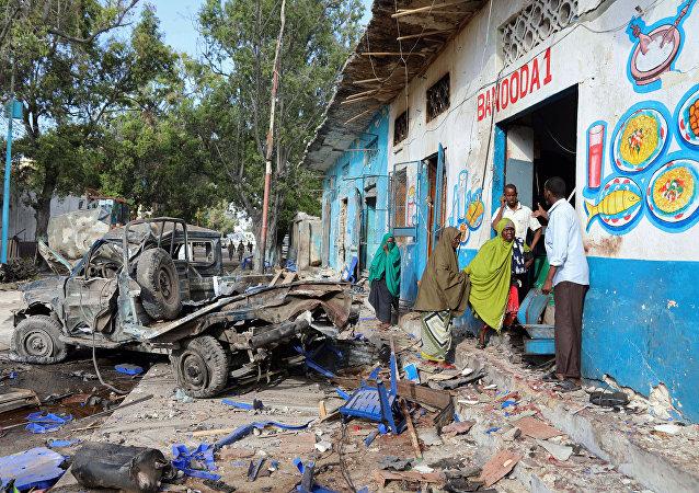Un hotel en Mogadiscio tras el ataque