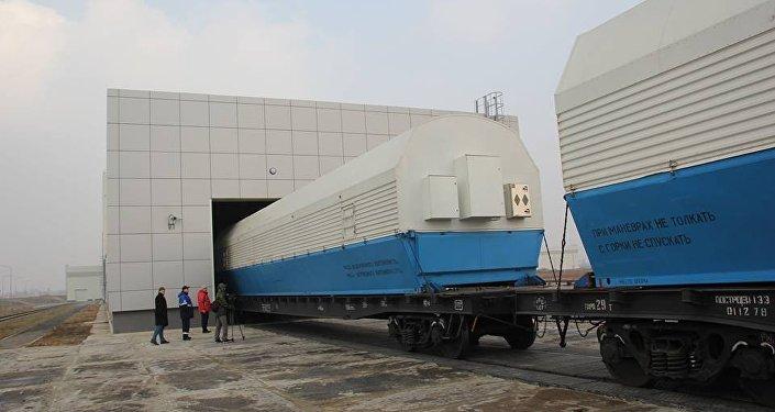 Los bloques del cohete Soyuz-2.1b llegan al cosmódromo ruso Vostochni
