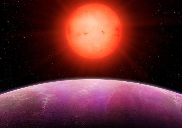 La impresión artística de la salida del sol vista del planeta NGTS-1b