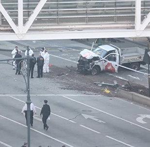 Graban al terrorista en el lugar del atentado en Nueva York