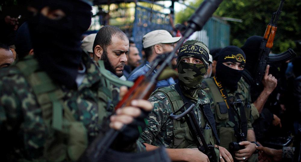 Milicianos del movimiento Yihad Islámica