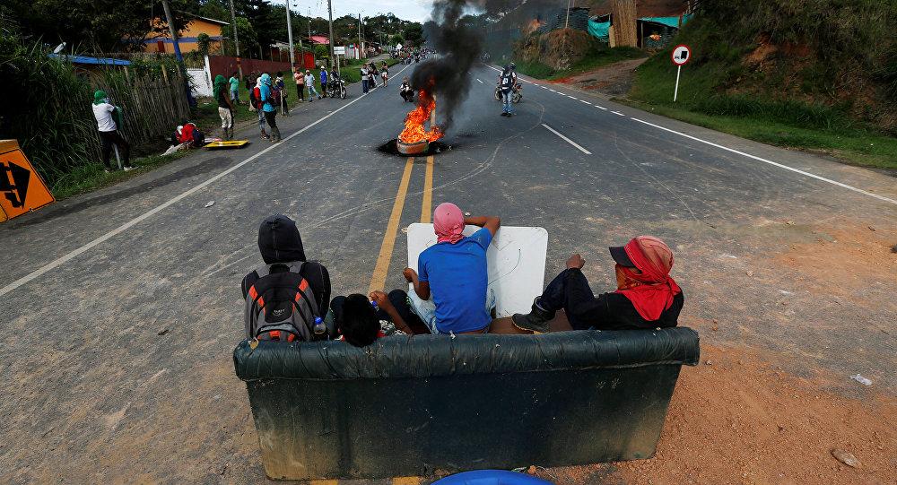 Protestas de los indígenas en Cauca